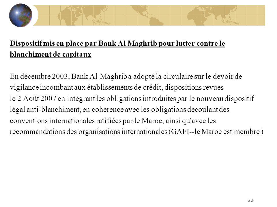 22 Dispositif mis en place par Bank Al Maghrib pour lutter contre le blanchiment de capitaux En décembre 2003, Bank Al-Maghrib a adopté la circulaire