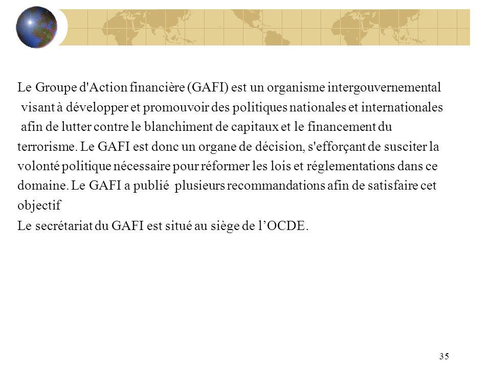 35 Le Groupe d'Action financière (GAFI) est un organisme intergouvernemental visant à développer et promouvoir des politiques nationales et internatio