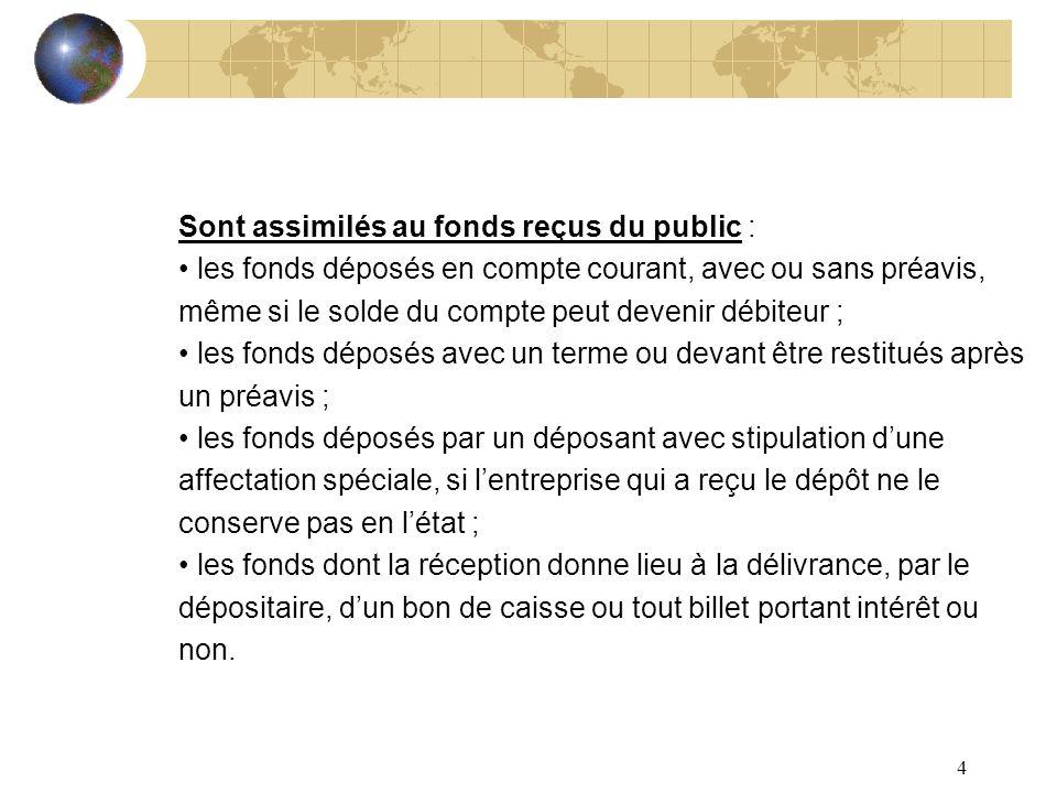 4 Sont assimilés au fonds reçus du public : les fonds déposés en compte courant, avec ou sans préavis, même si le solde du compte peut devenir débiteu