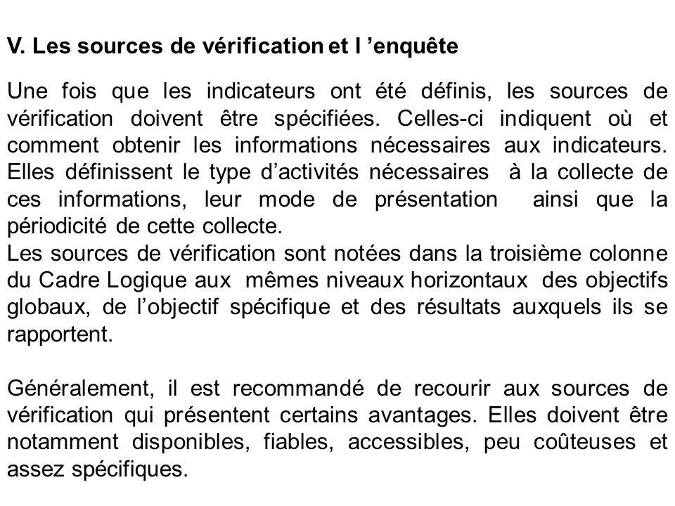 V. Les sources de vérification et l enquête Une fois que les indicateurs ont été définis, les sources de vérification doivent être spécifiées. Celles-