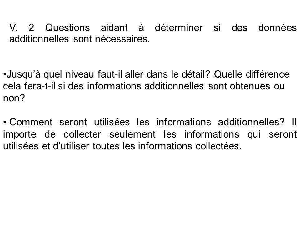 V. 2 Questions aidant à déterminer si des données additionnelles sont nécessaires. Jusquà quel niveau faut-il aller dans le détail? Quelle différence