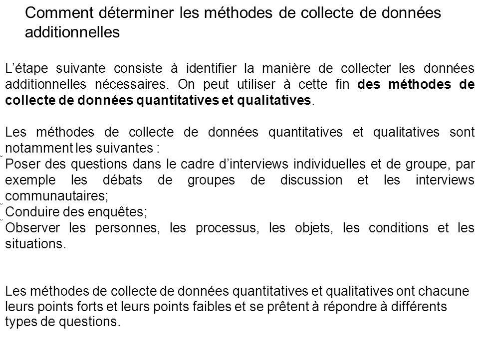 Comment déterminer les méthodes de collecte de données additionnelles Létape suivante consiste à identifier la manière de collecter les données additi