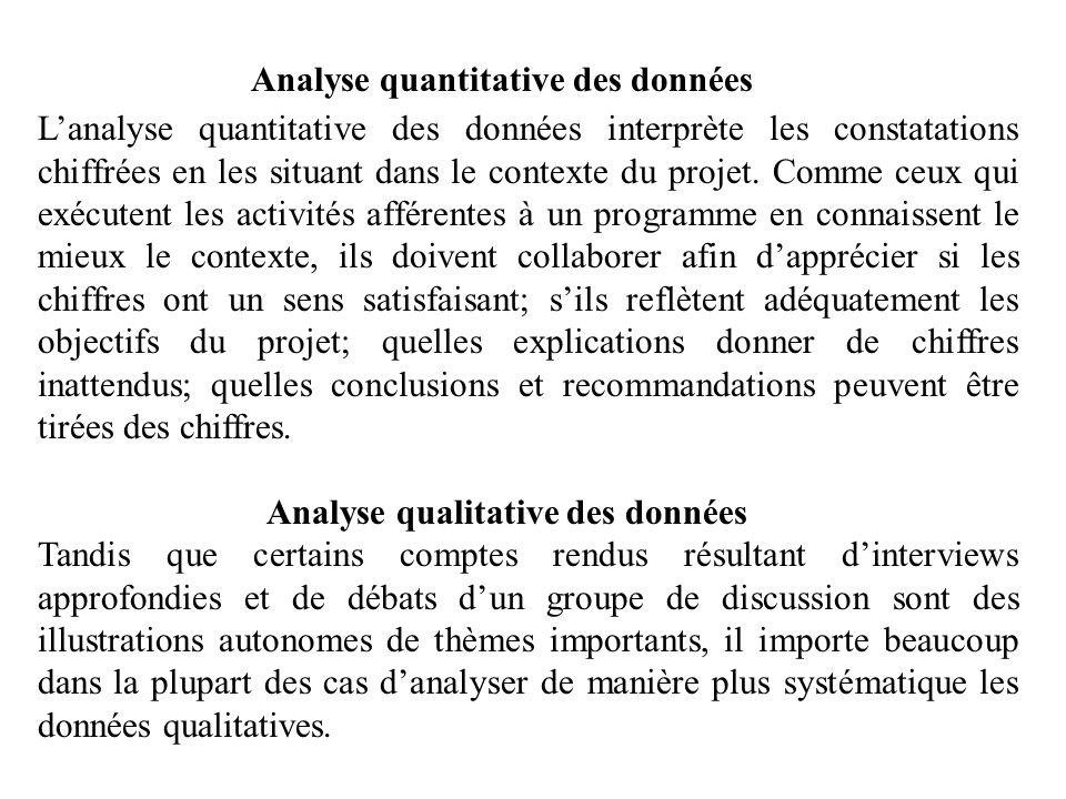 Analyse quantitative des données Lanalyse quantitative des données interprète les constatations chiffrées en les situant dans le contexte du projet. C