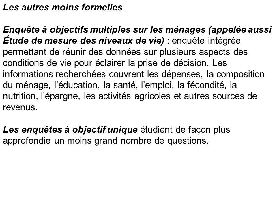 Les autres moins formelles Enquête à objectifs multiples sur les ménages (appelée aussi Étude de mesure des niveaux de vie) : enquête intégrée permett