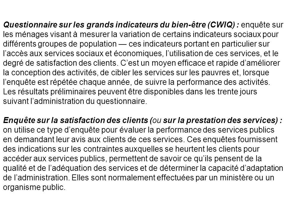 Questionnaire sur les grands indicateurs du bien-être (CWIQ) : enquête sur les ménages visant à mesurer la variation de certains indicateurs sociaux p