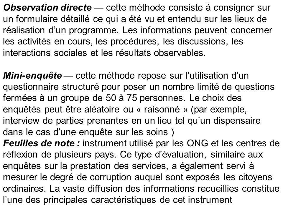 Observation directe cette méthode consiste à consigner sur un formulaire détaillé ce qui a été vu et entendu sur les lieux de réalisation dun programm