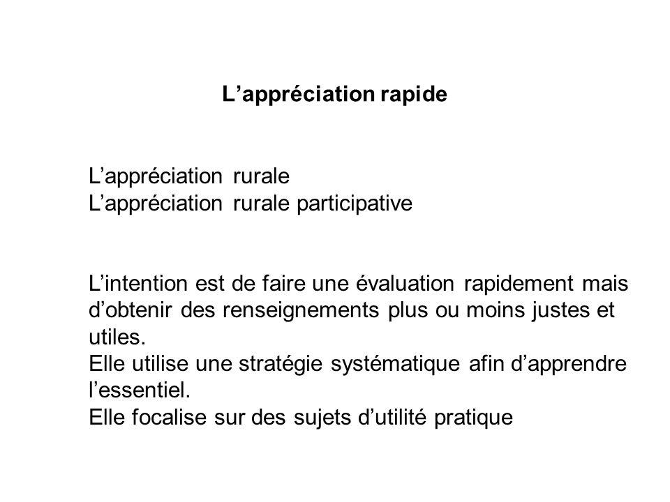 Lappréciation rurale Lappréciation rurale participative Lintention est de faire une évaluation rapidement mais dobtenir des renseignements plus ou moi