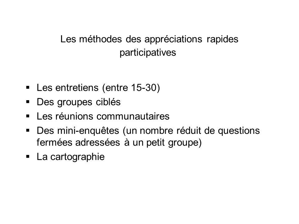 Les méthodes des appréciations rapides participatives Les entretiens (entre 15-30) Des groupes ciblés Les réunions communautaires Des mini-enquêtes (u