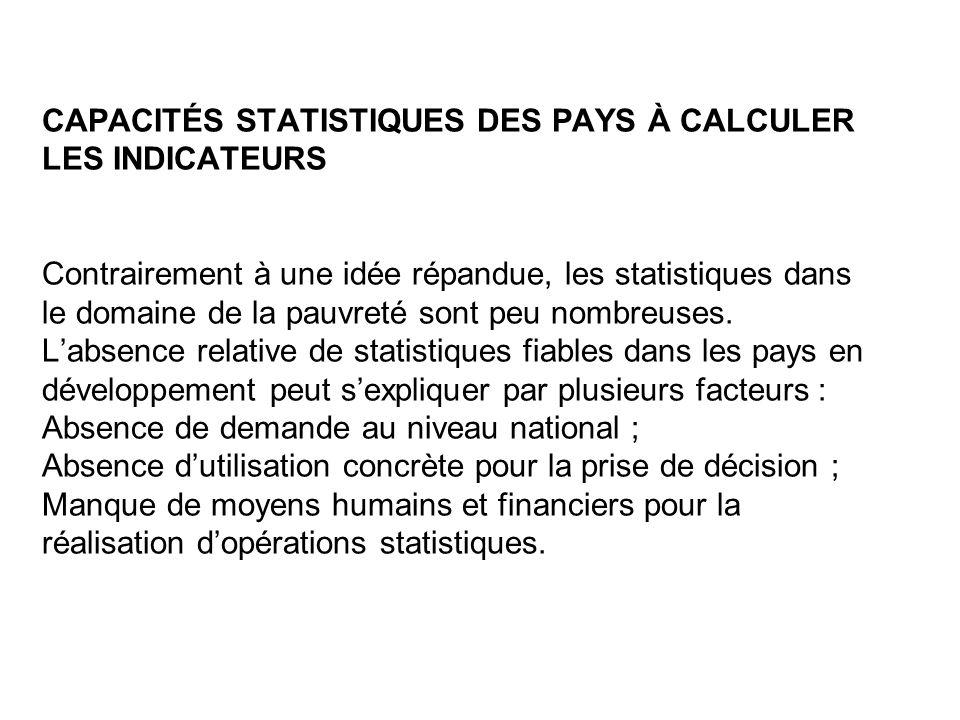 CAPACITÉS STATISTIQUES DES PAYS À CALCULER LES INDICATEURS Contrairement à une idée répandue, les statistiques dans le domaine de la pauvreté sont peu