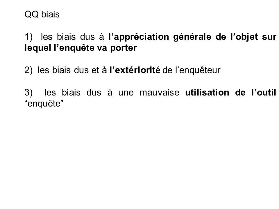 QQ biais 1) les biais dus à lappréciation générale de lobjet sur lequel lenquête va porter 2) les biais dus et à lextériorité de lenquêteur 3) les bia
