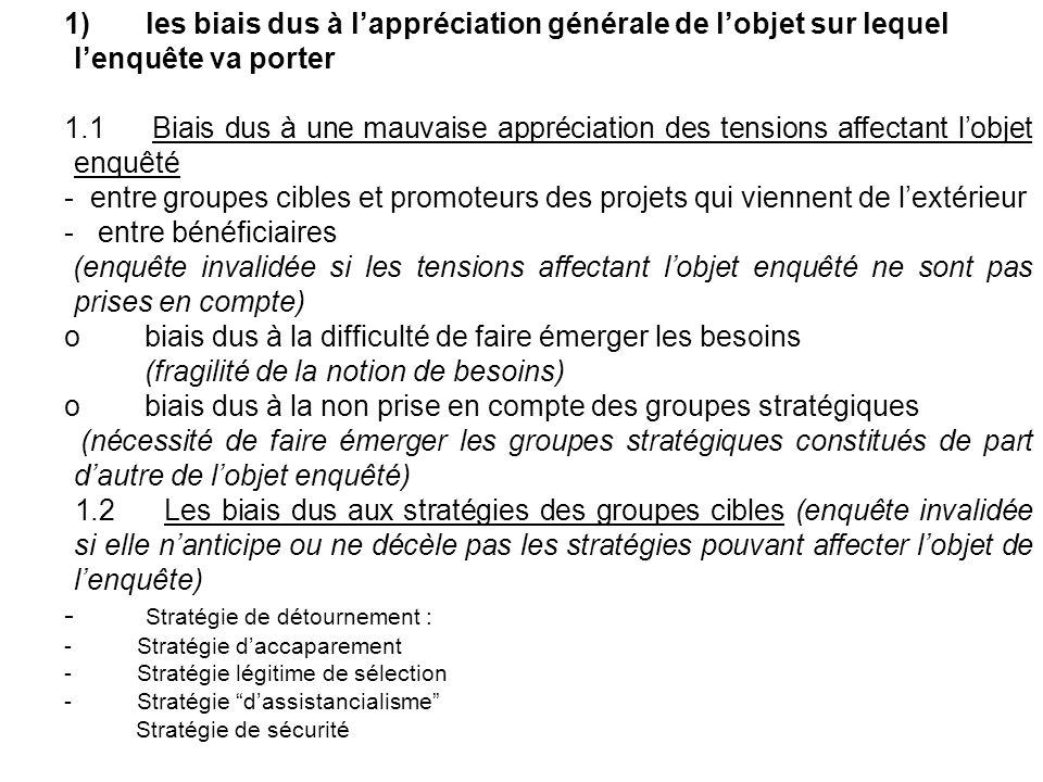 1) les biais dus à lappréciation générale de lobjet sur lequel lenquête va porter 1.1 Biais dus à une mauvaise appréciation des tensions affectant lob
