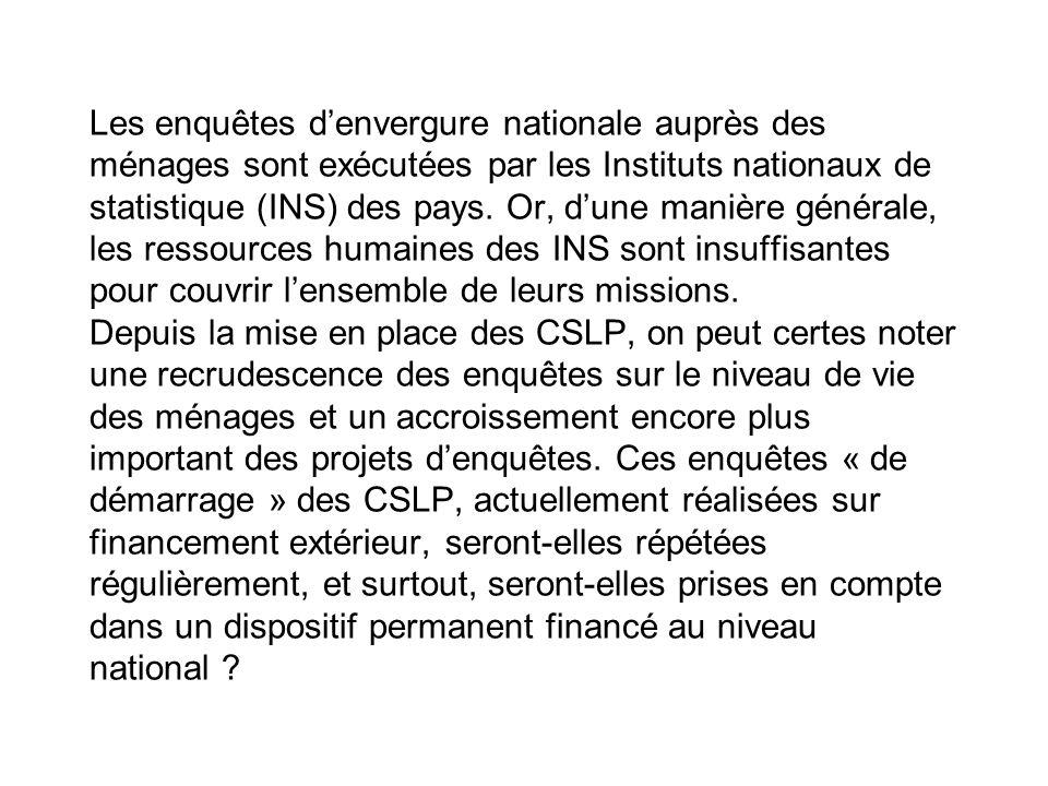 Les enquêtes denvergure nationale auprès des ménages sont exécutées par les Instituts nationaux de statistique (INS) des pays. Or, dune manière généra