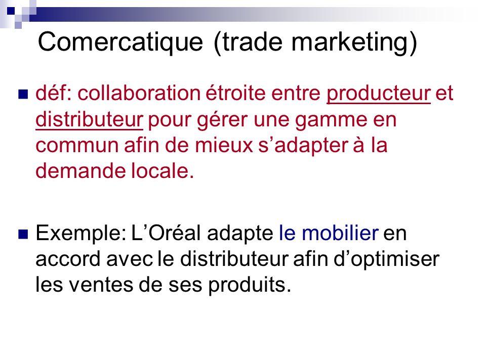 Comercatique (trade marketing) déf: collaboration étroite entre producteur et distributeur pour gérer une gamme en commun afin de mieux sadapter à la