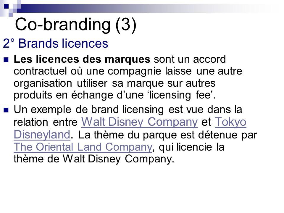 Co-branding (3) 2° Brands licences Les licences des marques sont un accord contractuel où une compagnie laisse une autre organisation utiliser sa marq