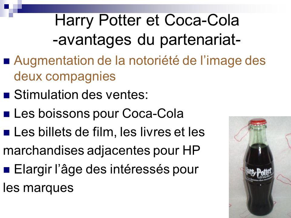 Harry Potter et Coca-Cola -viabilité du partenariat- Valeur égale pour les deux parties: Harry Potter a gagné exposition dans toute le monde, Coca-Cola a promue HP pour son appeal à un segment plus jeune; Coïncidence des valeurs de la marque: Idéales damitié, honnêteté et optimisme – valeurs complémentaires.