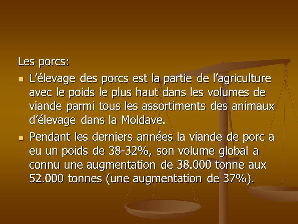 Les porcs: Lélevage des porcs est la partie de lagriculture avec le poids le plus haut dans les volumes de viande parmi tous les assortiments des anim