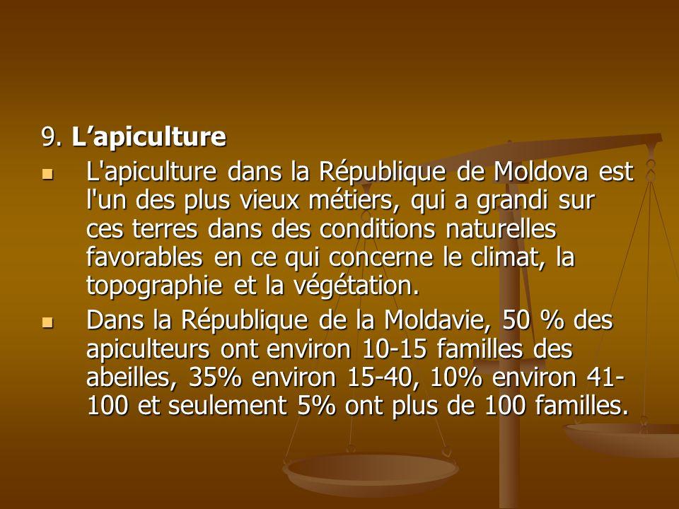 9. Lapiculture L'apiculture dans la République de Moldova est l'un des plus vieux métiers, qui a grandi sur ces terres dans des conditions naturelles