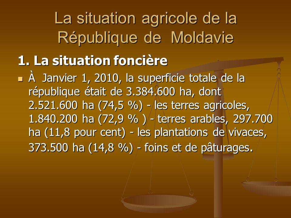La situation agricole de la République de Moldavie 1. La situation foncière À Janvier 1, 2010, la superficie totale de la république était de 3.384.60