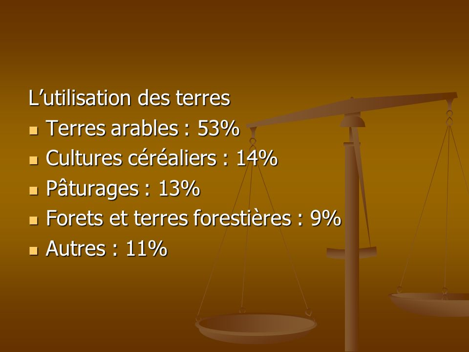Lutilisation des terres Terres arables : 53% Terres arables : 53% Cultures céréaliers : 14% Cultures céréaliers : 14% Pâturages : 13% Pâturages : 13%