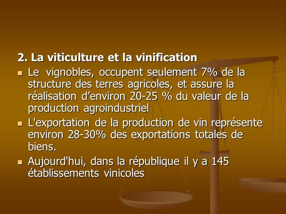 2. La viticulture et la vinification Le vignobles, occupent seulement 7% de la structure des terres agricoles, et assure la réalisation denviron 20-25