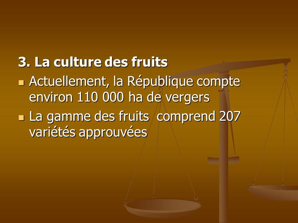 3. La culture des fruits Actuellement, la République compte environ 110 000 ha de vergers Actuellement, la République compte environ 110 000 ha de ver