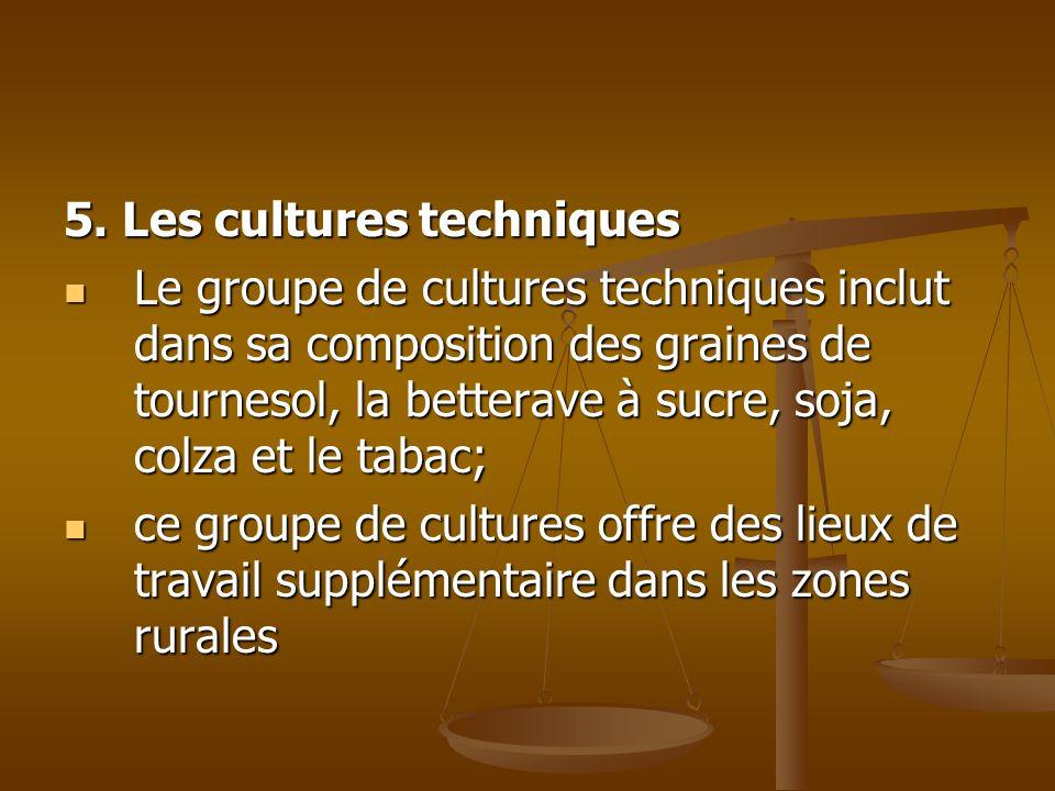 5. Les cultures techniques Le groupe de cultures techniques inclut dans sa composition des graines de tournesol, la betterave à sucre, soja, colza et