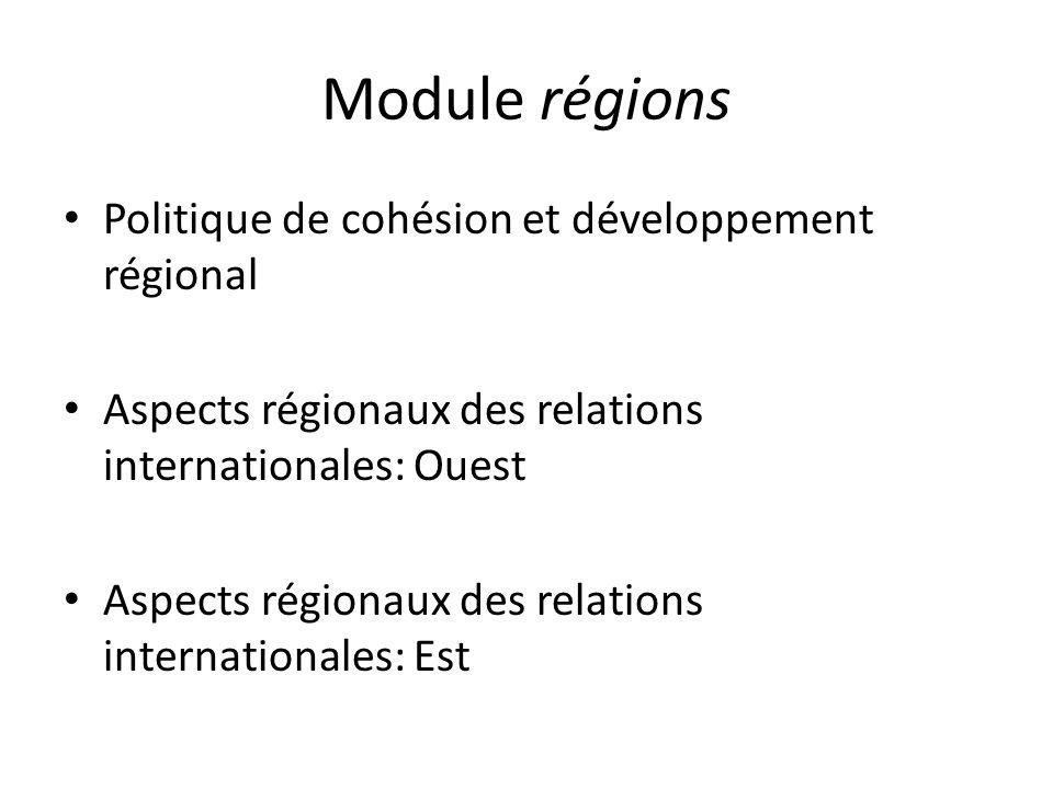 Module régions Politique de cohésion et développement régional Aspects régionaux des relations internationales: Ouest Aspects régionaux des relations internationales: Est