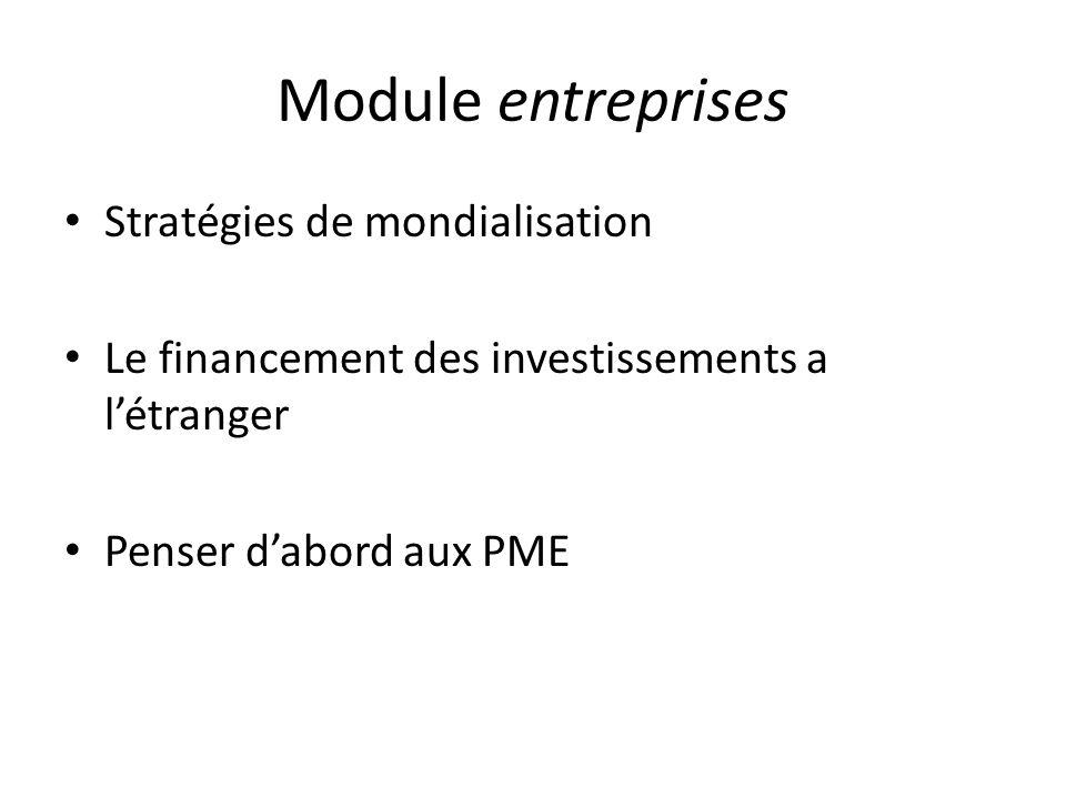 Module entreprises Stratégies de mondialisation Le financement des investissements a létranger Penser dabord aux PME