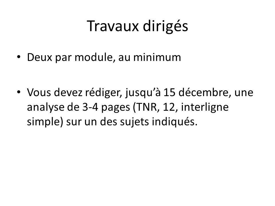 Travaux dirigés Deux par module, au minimum Vous devez rédiger, jusquà 15 décembre, une analyse de 3-4 pages (TNR, 12, interligne simple) sur un des sujets indiqués.