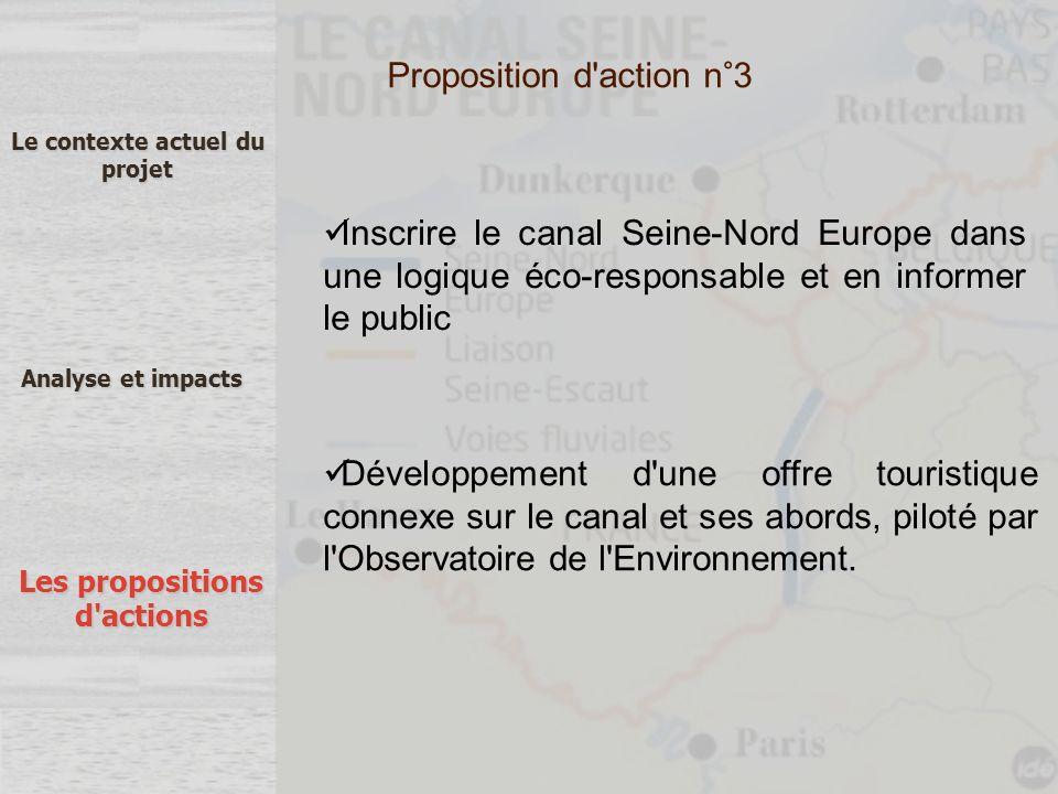 Le contexte actuel du projet Analyse et impacts Les propositions d'actions Inscrire le canal Seine-Nord Europe dans une logique éco-responsable et en