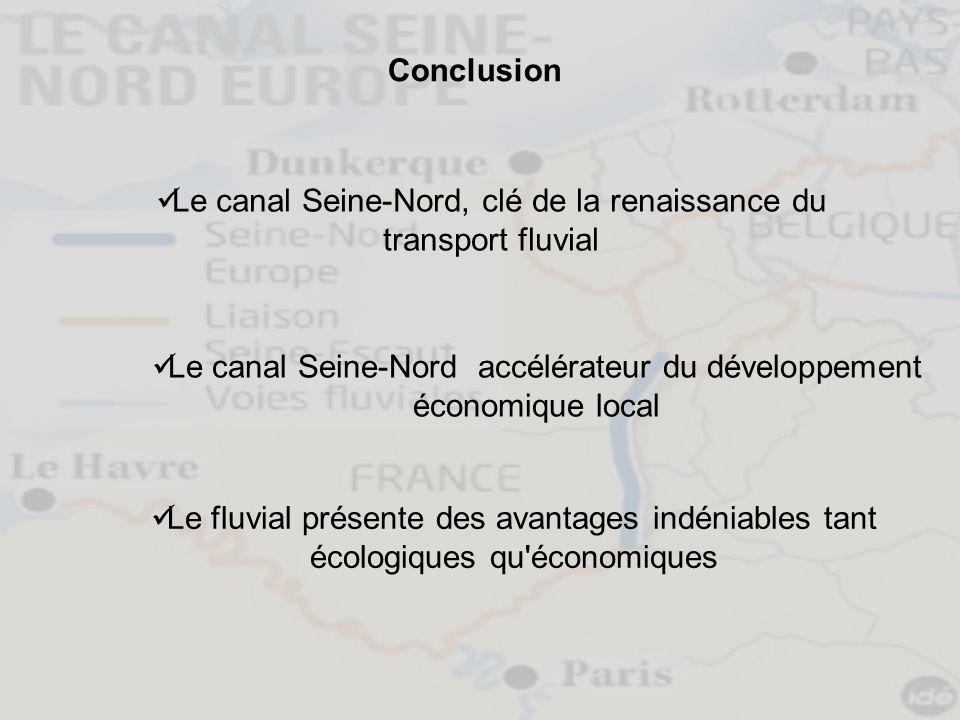 Conclusion Le canal Seine-Nord, clé de la renaissance du transport fluvial Le canal Seine-Nord accélérateur du développement économique local Le fluvi