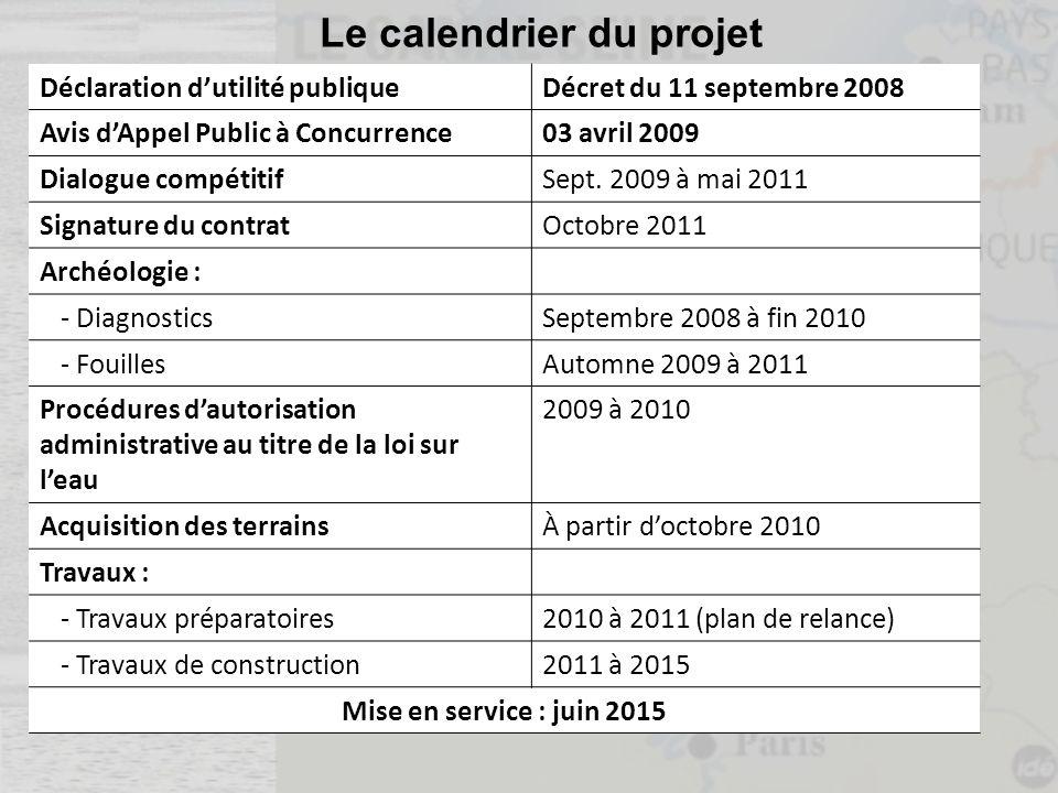 Le calendrier du projet Déclaration dutilité publiqueDécret du 11 septembre 2008 Avis dAppel Public à Concurrence03 avril 2009 Dialogue compétitifSept