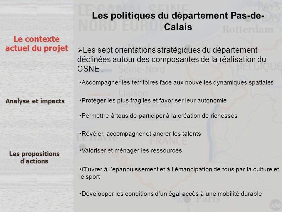 Les politiques du département Pas-de- Calais Les sept orientations stratégiques du département déclinées autour des composantes de la réalisation du C