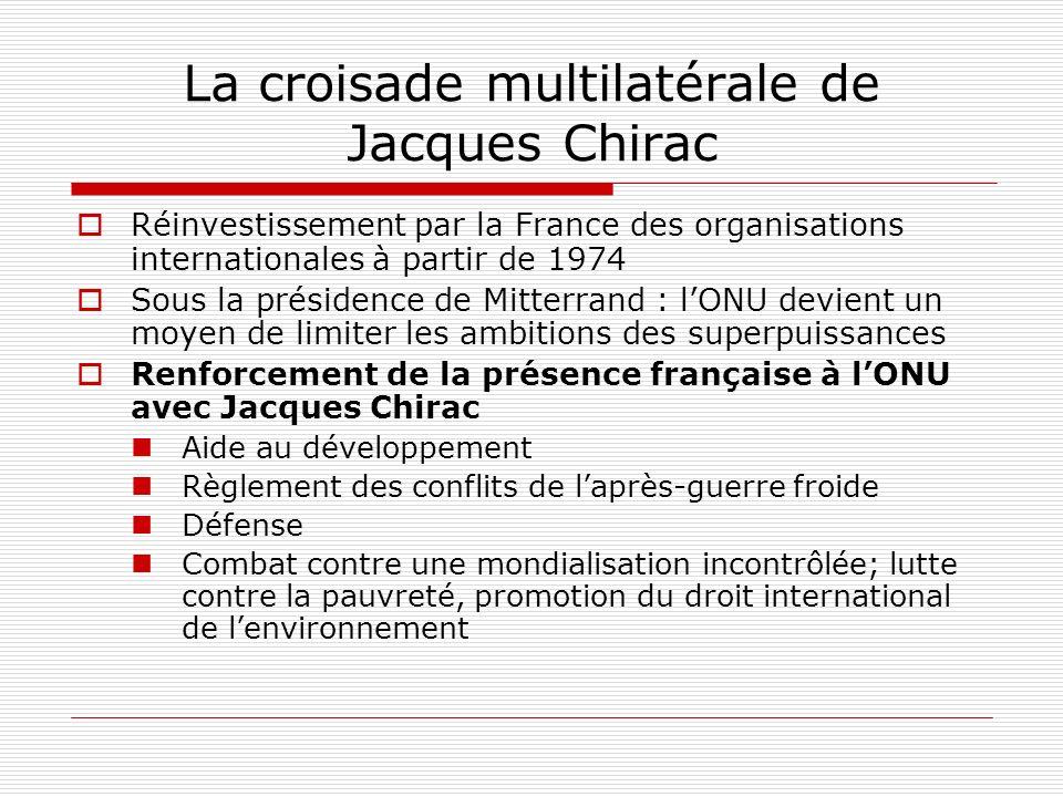 La croisade multilatérale de Jacques Chirac Réinvestissement par la France des organisations internationales à partir de 1974 Sous la présidence de Mitterrand : lONU devient un moyen de limiter les ambitions des superpuissances Renforcement de la présence française à lONU avec Jacques Chirac Aide au développement Règlement des conflits de laprès-guerre froide Défense Combat contre une mondialisation incontrôlée; lutte contre la pauvreté, promotion du droit international de lenvironnement