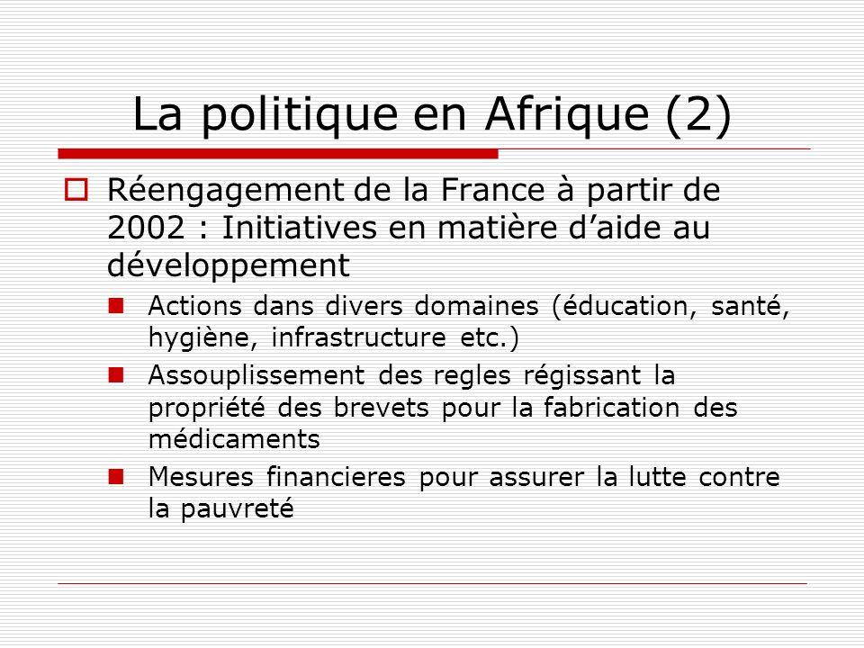 La politique en Afrique (2) Réengagement de la France à partir de 2002 : Initiatives en matière daide au développement Actions dans divers domaines (éducation, santé, hygiène, infrastructure etc.) Assouplissement des regles régissant la propriété des brevets pour la fabrication des médicaments Mesures financieres pour assurer la lutte contre la pauvreté