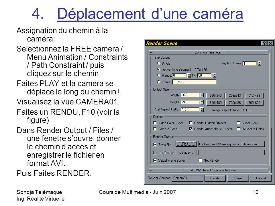 Sondja Télémaque Ing. Réalité Virtuelle Cours de Multimedia - Juin 200710 4.Déplacement dune caméra Assignation du chemin à la caméra: Selectionnez la