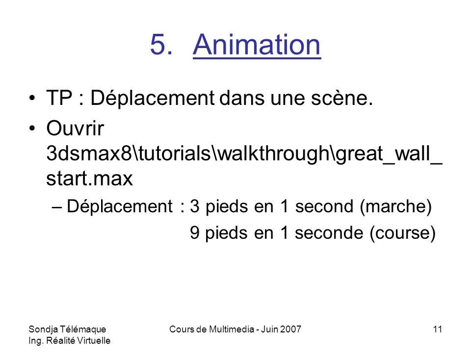 Sondja Télémaque Ing. Réalité Virtuelle Cours de Multimedia - Juin 200711 5.Animation TP : Déplacement dans une scène. Ouvrir 3dsmax8\tutorials\walkth