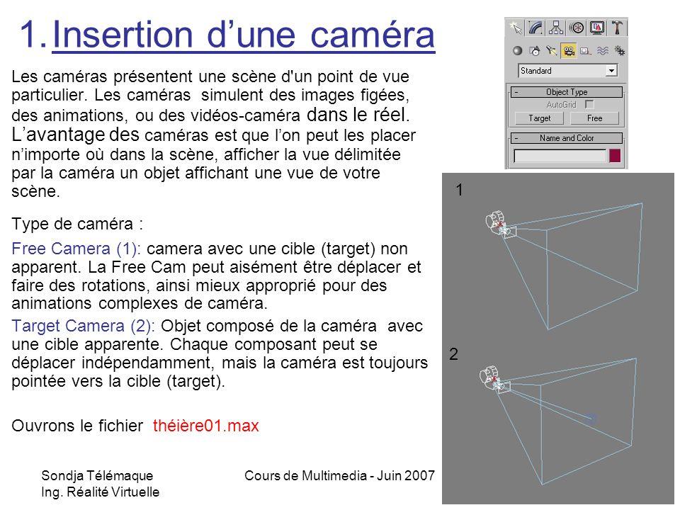Sondja Télémaque Ing. Réalité Virtuelle Cours de Multimedia - Juin 20072 1.Insertion dune caméra Les caméras présentent une scène d'un point de vue pa