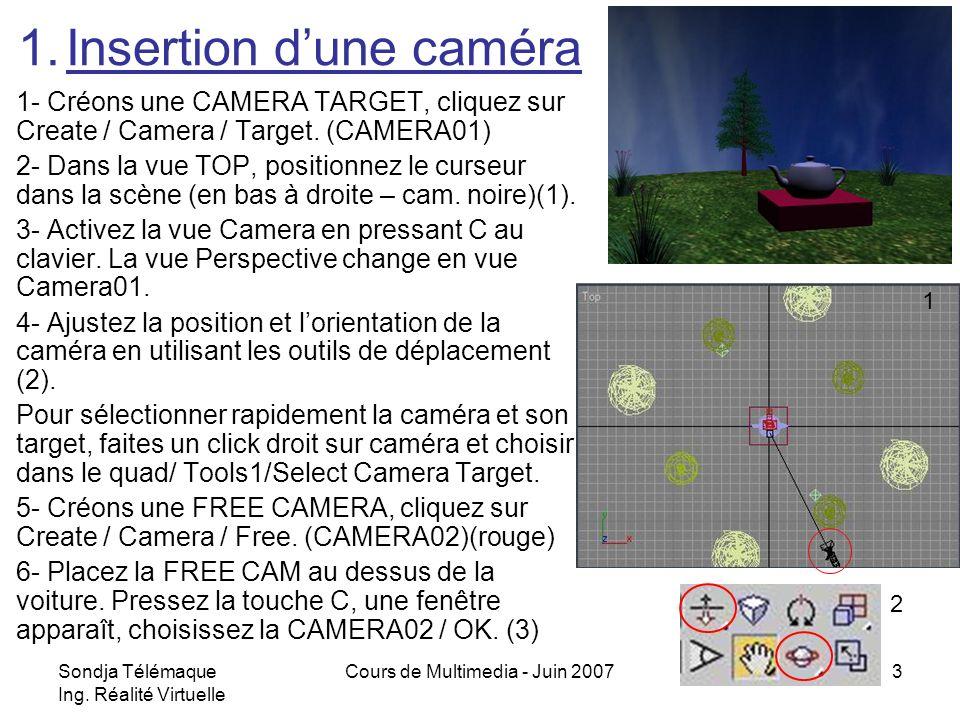 Sondja Télémaque Ing. Réalité Virtuelle Cours de Multimedia - Juin 20073 1- Créons une CAMERA TARGET, cliquez sur Create / Camera / Target. (CAMERA01)