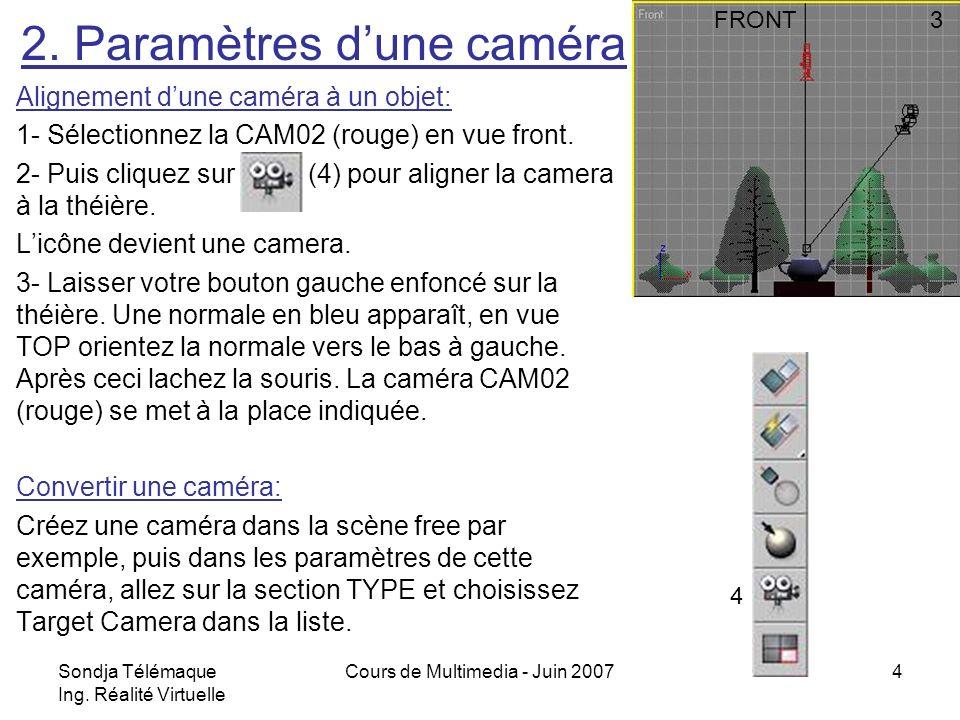 Sondja Télémaque Ing. Réalité Virtuelle Cours de Multimedia - Juin 20074 Alignement dune caméra à un objet: 1- Sélectionnez la CAM02 (rouge) en vue fr