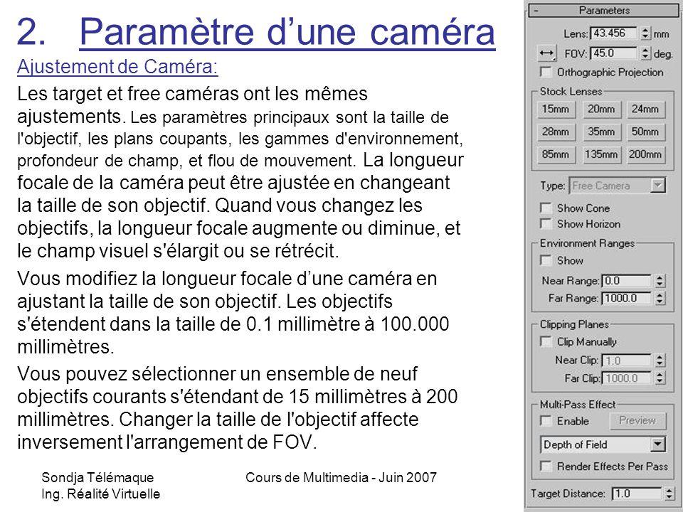 Sondja Télémaque Ing. Réalité Virtuelle Cours de Multimedia - Juin 20075 2.Paramètre dune caméra Ajustement de Caméra: Les target et free caméras ont
