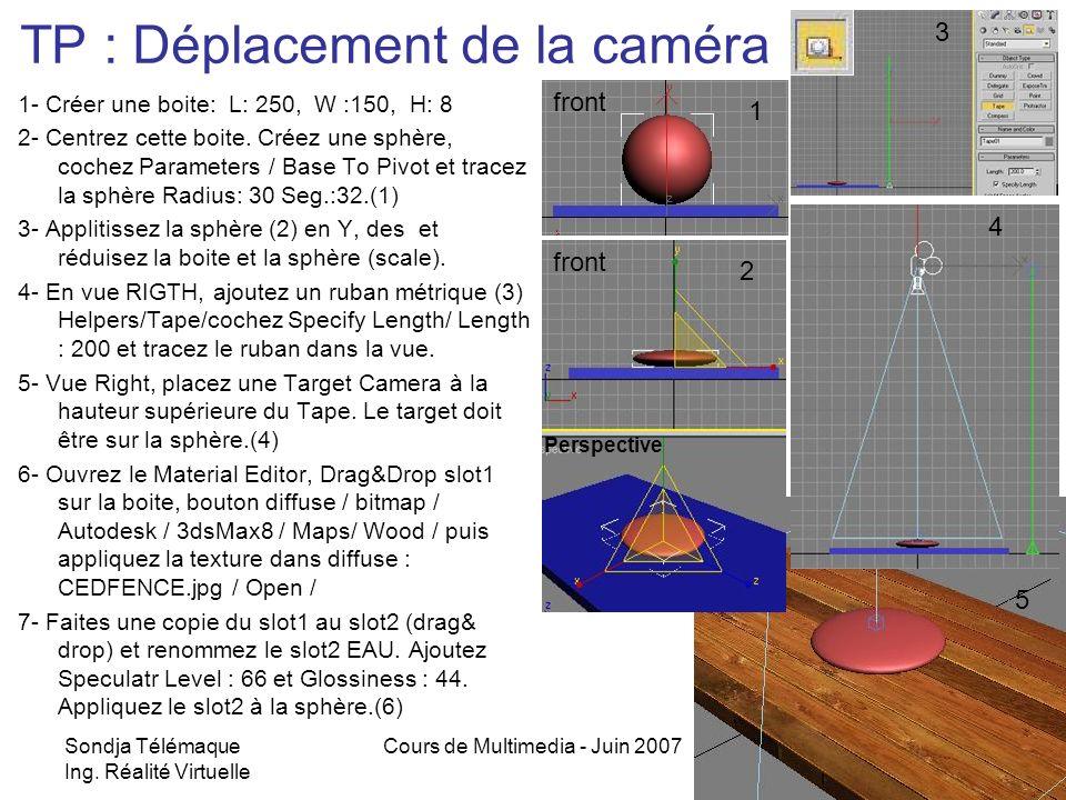 Sondja Télémaque Ing. Réalité Virtuelle Cours de Multimedia - Juin 20077 TP : Déplacement de la caméra 1- Créer une boite: L: 250, W :150, H: 8 2- Cen