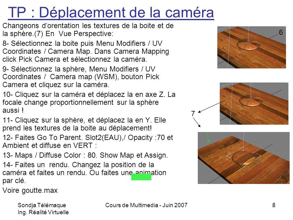 Sondja Télémaque Ing. Réalité Virtuelle Cours de Multimedia - Juin 20078 Changeons dorentation les textures de la boite et de la sphère.(7) En Vue Per