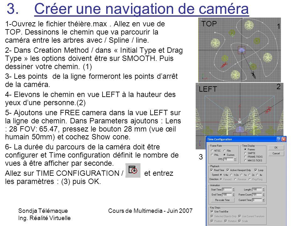 Sondja Télémaque Ing. Réalité Virtuelle Cours de Multimedia - Juin 20079 3.Créer une navigation de caméra 1-Ouvrez le fichier théière.max. Allez en vu