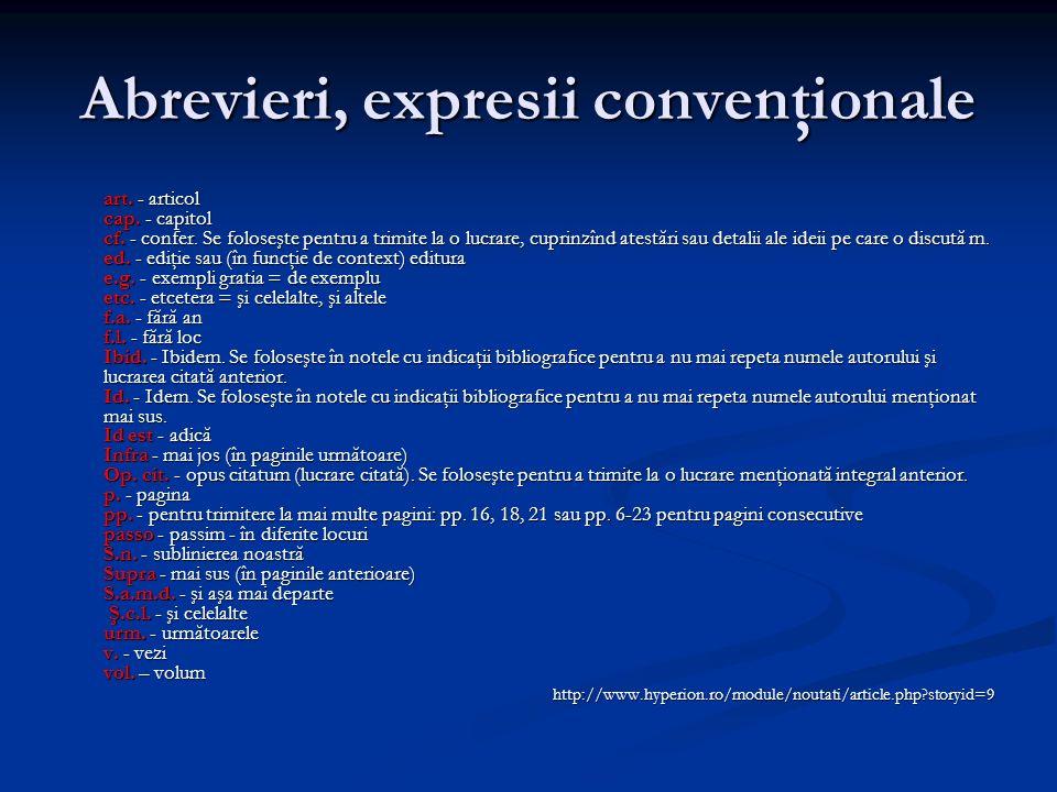 Abrevieri, expresii convenţionale art. - articol cap.
