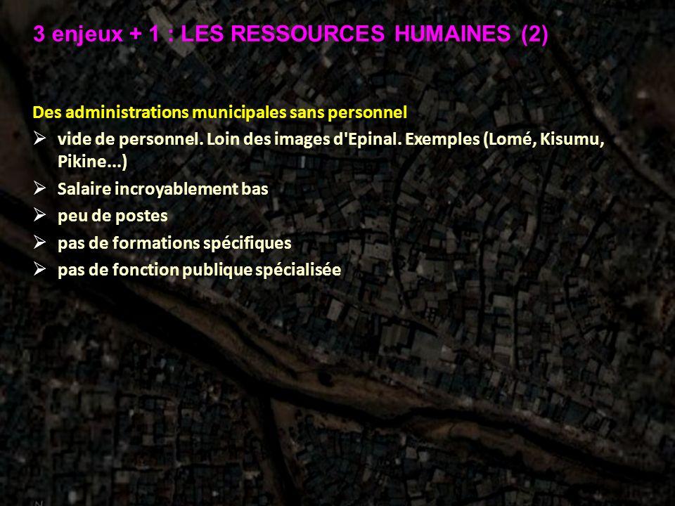 Des administrations municipales sans personnel vide de personnel. Loin des images d'Epinal. Exemples (Lomé, Kisumu, Pikine...) Salaire incroyablement