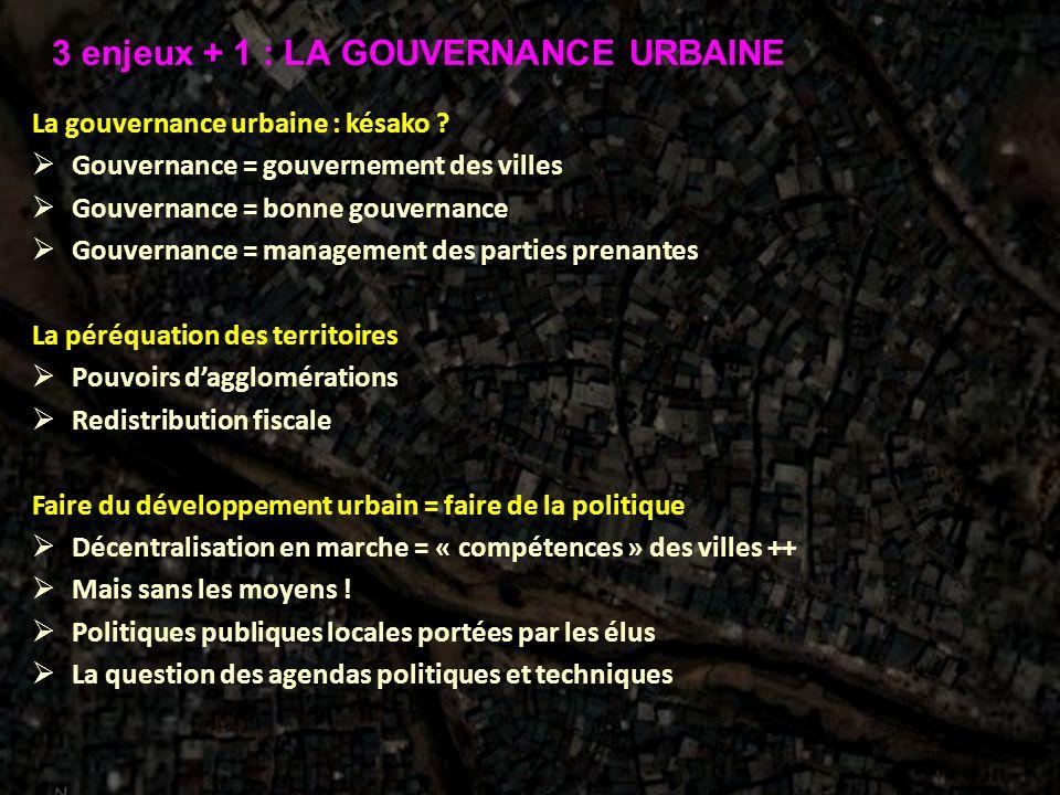 La gouvernance urbaine : késako ? Gouvernance = gouvernement des villes Gouvernance = bonne gouvernance Gouvernance = management des parties prenantes