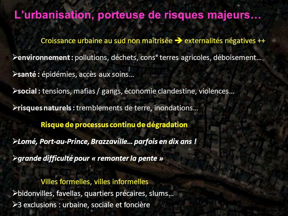 Lurbanisation, porteuse de risques majeurs… Croissance urbaine au sud non maîtrisée externalités négatives ++ environnement : pollutions, déchets, con