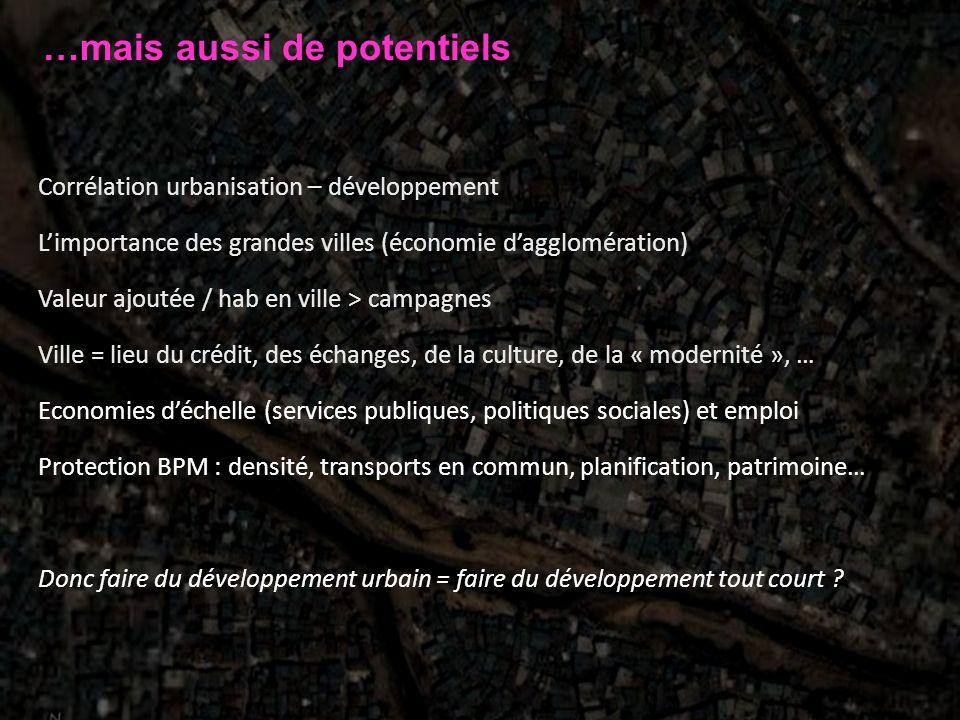 …mais aussi de potentiels Corrélation urbanisation – développement Limportance des grandes villes (économie dagglomération) Valeur ajoutée / hab en vi