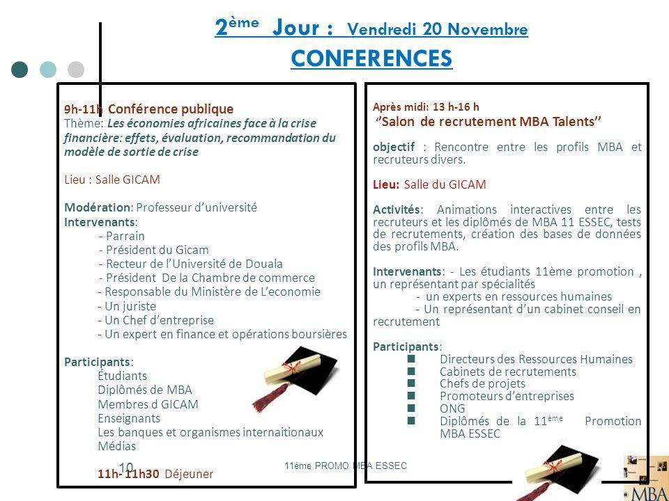 11ème PROMO MBA ESSEC 10 2 ème Jour : Vendredi 20 Novembre CONFERENCES 9h-11h Conférence publique Thème: Les économies africaines face à la crise fina